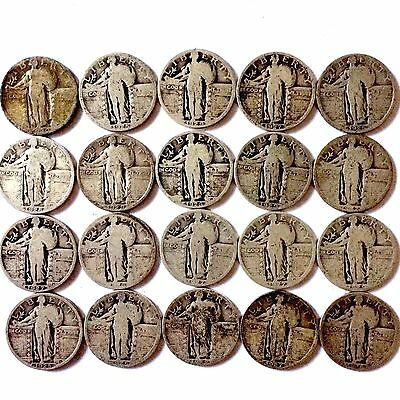 (20) Coins 90% Silver Standing Liberty Quarters.  Not Junk Silver.