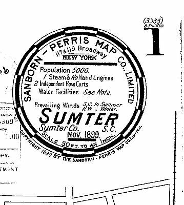 Sumter, SC~Sanborn Map© mapped in 1899 ~8 maps on a CD