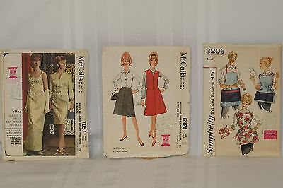 Lot of 3 Vintage 1960's Sewing Patterns McCalls Simplicity Apron Dess Skirt