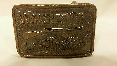 VINTAGE 1970s Winchester Repeating Arms Brass BELT BUCKLE