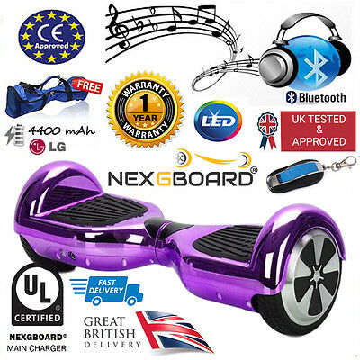 "Chrome Purple 6.5"" Hoverboard Swegway Self Balance Scooter + Bluetooth Speaker"