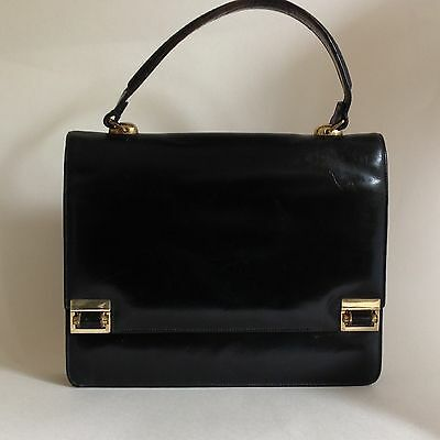 1960s Black Leather Vintage Handbag With Red Leather Lining Twin Lock Kelly Bag