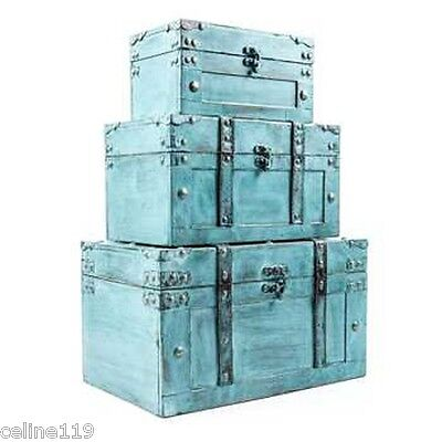Rustic Antique Turquoise Storage Trunk Box Set of Three Country Farmhouse Decor!