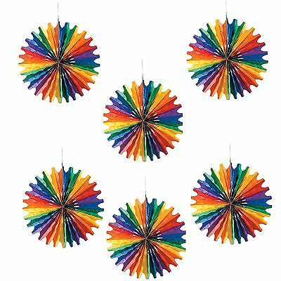 Rainbow Coloured Tissue Paper Fan Decorations Pack Of 6 Birthday Party