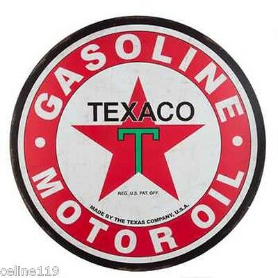 "Texaco Gasoline & Motor Oil Metal Sign Large 30""Round Man Cave Garage Home Decor"