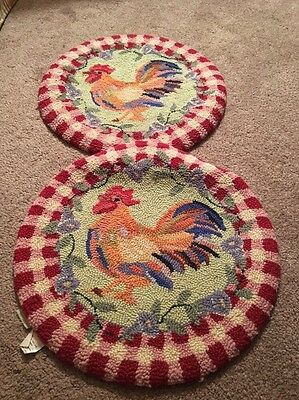 123 Creations Hooked Rug Wool Chair Pads Roosters Set!