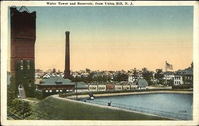 Tower & Resevoir From Union Hill NJ c1920 Postcard