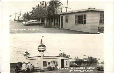 Draper SD Rusty's Standard Gas Station & Western Courts Real Photo Postcard