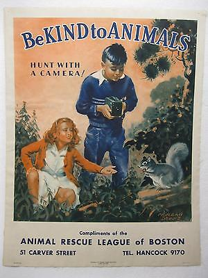 Be Kind to Animals Paper Poster Art Old Vtg Kodak Brownie Camera Humane League