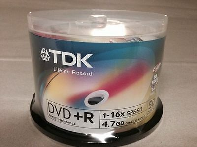 50 Discs TDK 16X DVD+R White Printable 4.7GB 120MIN