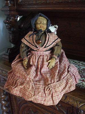 Antique Primitive Pilgrim Doll Finely Made Detailed Molded Face Folk Art 22""