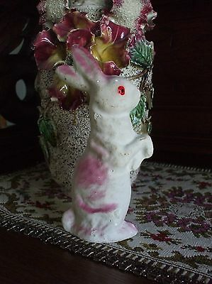 Vintage Easter Bunny Rabbit Candy Container Pink Standing Paper Mache Plaster