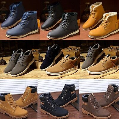 Men Winter Ankle Martin Boots Leather Shoes Faux Fur Lined High Top Sneakers