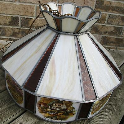 """Antique Huge Currier & Ives Ceiling Lamp Stain Glass Shade chandelier Dia. 20.5"""""""