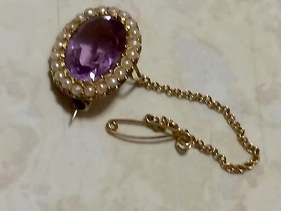 Antique Victorian 15Ct Gold Amethyst & Pearl set Lace Pin or Brooch c1880