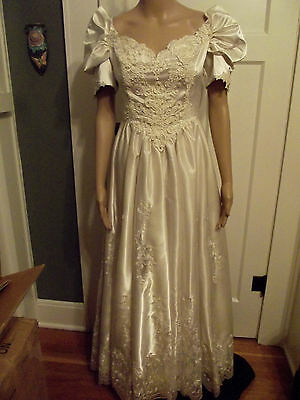Vintage Ivory Satin/Irish Lace Off-Shouder~Southern Belle Beaded Wedding Gown S
