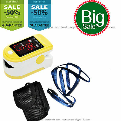 CE Fingertip Pulse Oximeter Blood Oxygen Saturation SPO2 Monitor with Carry Case