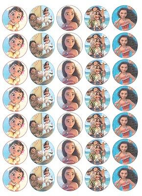 35 x Disney MOANA Edible Rice/Wafer Cake Cupcake toppers