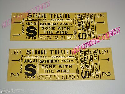 GONE WITH THE WIND, 2 VINTAGE UNUSED THEATRE TICKETS Clark Gable, Vivien Leigh,k