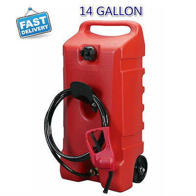 14 GALLON Portable Fuel Gas Can Tank Jug Container Caddy Fluid Transfer Pump New