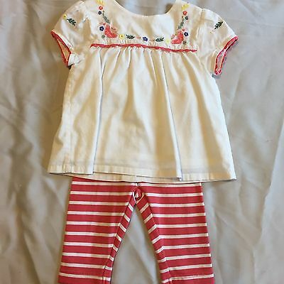 Girls Baby Boden Top And Leggings Outfit Size 0-3mth