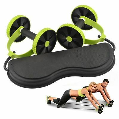 New Core Double Wheels Ab Roller Pull Rope Abdominal Waist Exercise Equipment