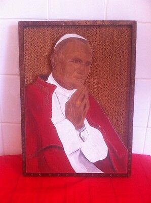 Pope John Paul ll In Pray Large 16 x 12 Wooden Picture Religion Papal Church God
