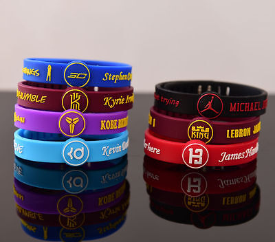Silicon adjustable Wristband Bracelet Basketball DURANT BRYANT CURRY LEBRON