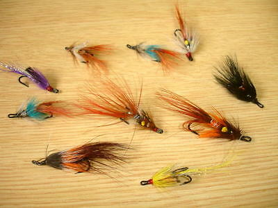 Flextec Assorted Fly Fishing Double Salmon Shrimp Flies Fly Selection x 10