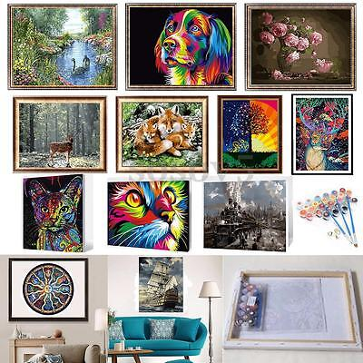 DIY Paint By Number Kit Painting Home Wall Decor Wood Framed Swan Deer Flower