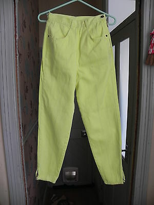 VINTAGE 80s Bright YELLOW TAXI Trousers High Waisted Pants Retro Jeans Style