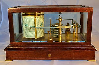 A Vintage Wooden Cased Mechanical Barograph by Gluck with Charts etc c.1900