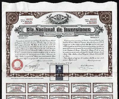 "1935 Mexico: Cia. Nacional de Inversiones - ""National Investment Company"""