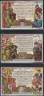 Liebig-*s0593*-Full Set Of 6 Cards- German - National Anthems Ii (With Music)