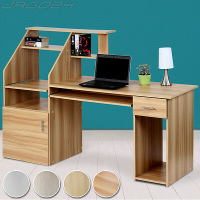 Computer Desk PC Table Home Office Workstation Shelves Cupboard Keyboard Tray