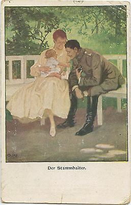 German WW1 Postcard, Officer, Soldier, Woman, Child, 1918