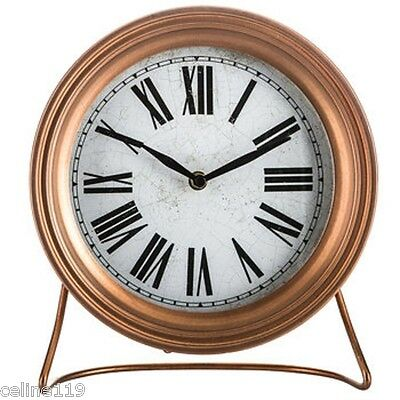 Copper Metal Clock with Stand Timepiece Metal Roman Numerals Shabby Chic decor