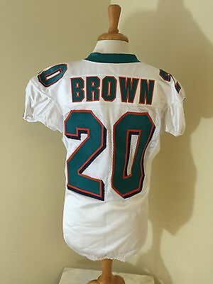 Game Used Reebok 2009 Miami Dolphins Brown #20 Tagged Size 46 White Jersey