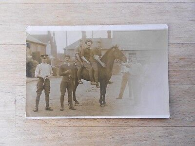 Pre-WW1 RHA yeoman cavalry postcard 9th Lancers soldiers horses 1912 RP