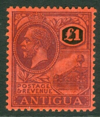 Antigua SG 61 1921 MCA £1 Purple and Black on Red  lightly mounted mint CAT £250