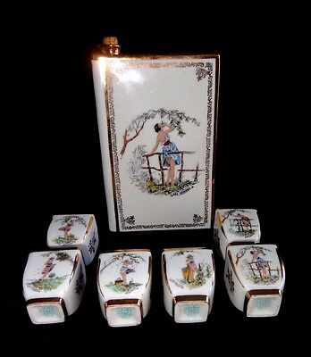Cir 1930 Limoges Book-Shape Decanter 6 Cups Hand Decorated Alluring Peasant Girl