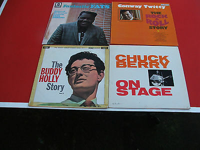 4 x Rock & Roll Vinyl lp Buddy Holly Fats Domino Conway Twitty Chuck Berry