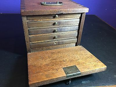 Antique Mission Oak dovetail Jewelery Storage Box with tin drawers late 1800s