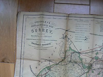Antique Cruchley's Road and Railway Map of Surrey