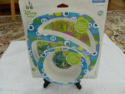 New NIP Disney Monsters Inc Feeding Set Dish Bowl Baby Toddler Boo 9 Mo BPA Free