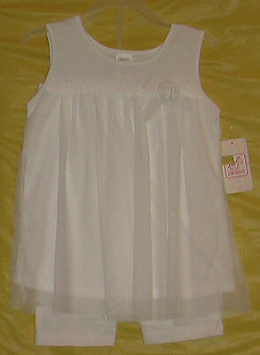 Swiggles (New) Girls (Size 4T) 2 Piece Outfit White Crenoline Shirt & Pants