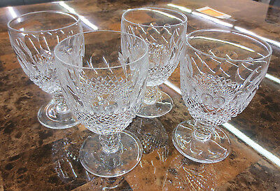 """Waterford Crystal Colleen Pattern 5 1/4"""" Short Stem Water Glass Lot of 4 Glasses"""