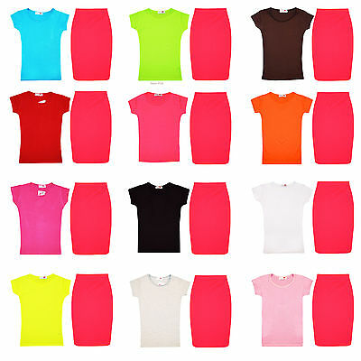 Girls Short Sleeve Top & Pencil Neon Skirt Kids 2 pc Set Outfit UK 7-13 Years
