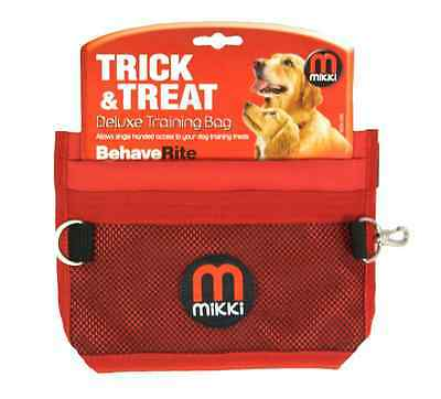 Mikki Training Deluxe Dog Treat Bag - Pockets, Adjustable Belt Strap - Red/Black