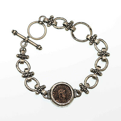 sterling silver ancient coin bracelet, handmade silver bracelet with roman coin